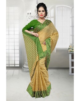 Party Wear Beige Banarasi Silk Saree  - 81525C
