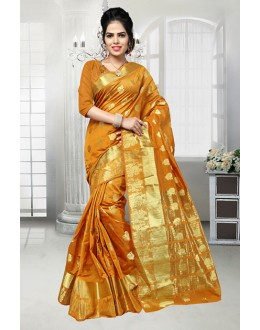 Party Wear Mustard Banarasi Silk Saree  - 81526A