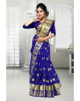 Party Wear Blue Banarasi Silk Saree  - 81526E