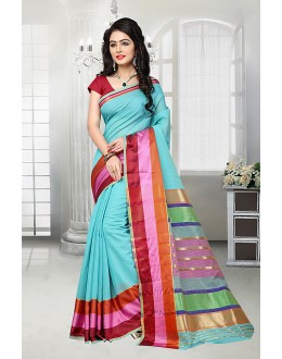 Festival Wear Blue Cotton Silk Saree  - 81529A