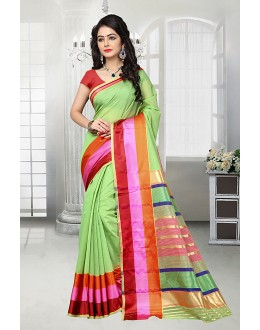 Party Wear Green Cotton Silk Saree  - 81529B