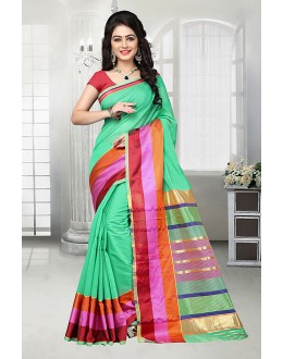 Sea Green Cotton Silk Printed Saree  - 81529C