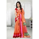 Ethnic Wear Coral Pink Cotton Silk Saree  - 81529D