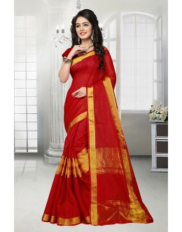 Ethnic Wear Red Dora Kota Saree  - 81530A