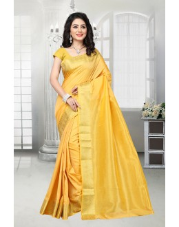 Ethnic Wear Yellow Banarasi Silk Saree  - 81533D