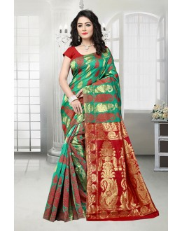 Ethnic Wear Green & Red Banarasi Silk Saree  - 81534A