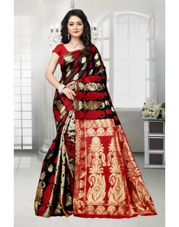 Traditional Black & Red Banarasi Silk Saree  - 81534B