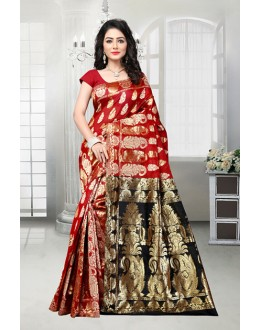 Festival Wear Red & Black Banarasi Silk Saree  - 81534C