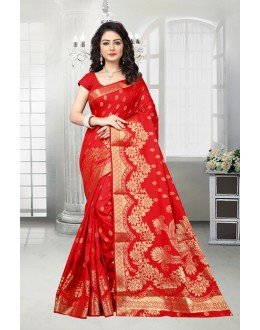 Ethnic Wear Red Banarasi Silk Saree  - 81535A