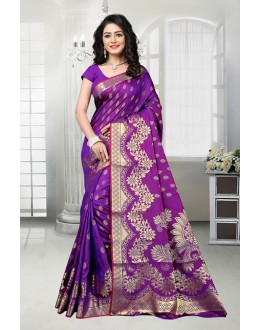 Traditional Purple Banarasi Silk Saree  - 81535D