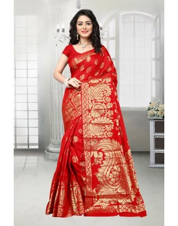 Ethnic Wear Red Banarasi Silk Saree  - 81536B