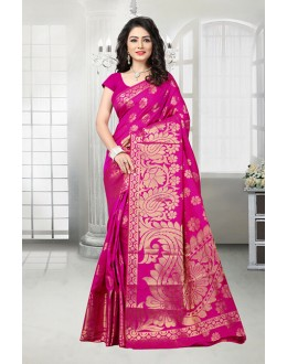 Party Wear Pink Banarasi Silk Saree  - 81536C