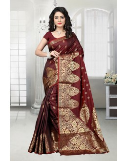 Party Wear Maroon Banarasi Silk Saree  - 81537A