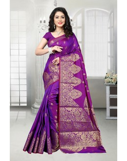 Festival Wear Purple Banarasi Silk Saree  - 81537C