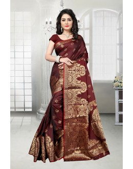 Wedding Wear Maroon Banarasi Silk Saree  - 81538D