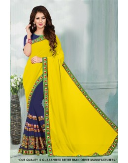 Ethnic Wear Yellow & Blue Georgette Saree  - 81540A