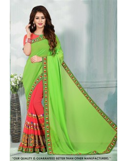 Party Wear Green & Pink Georgette Saree  - 81540B