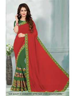 Festival Wear Red & Green Georgette Saree  - 81540C