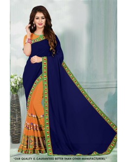 Blue & Orange Georgette Half & Half Saree  - 81540D