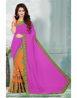 Ethnic Wear Pink & Orange Georgette Saree  - 81540E