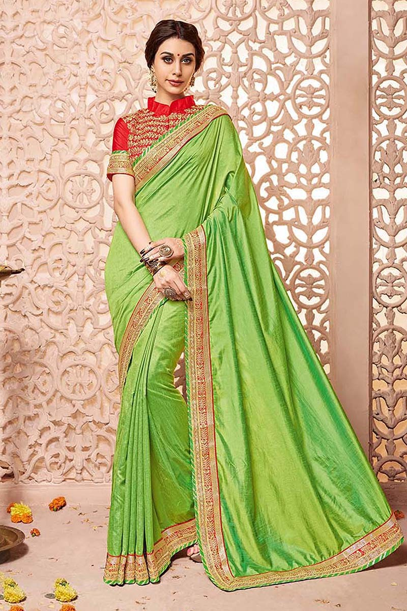Casual Wear Green Silk Saree  - 81686