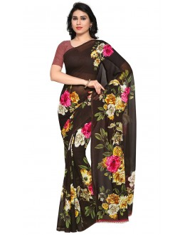 Ethnic Wear Black Ranyal Printed Saree  - 81783