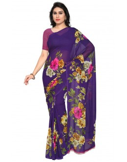 Wedding Wear Purple Ranyal Printed Saree  - 81785