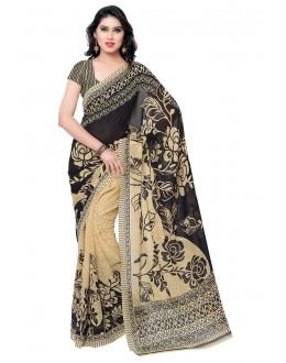 Festival Wear Black & Beige Ranyal Printed Saree  - 81789
