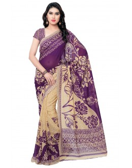 Ethnic Wear Purple & Cream Ranyal Printed Saree  - 81794