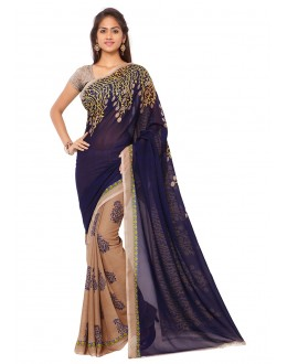 Party Wear Multi Colour Ranyal Printed Saree  - 81798