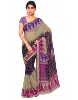Wedding Wear Multi Colour Ranyal Printed Saree  - 81813