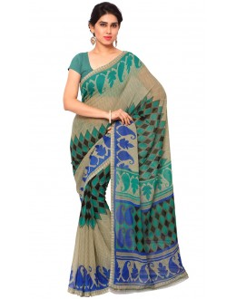 Party Wear Multi Colour Ranyal Printed Saree  - 81814