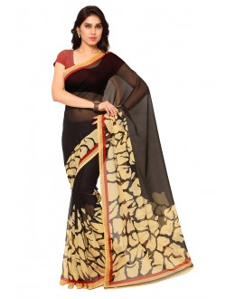 Casual  Wear Black Ranyal Printed Saree  - 81826