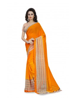 Party Wear Orange Ranyal Printed Saree  - 81918