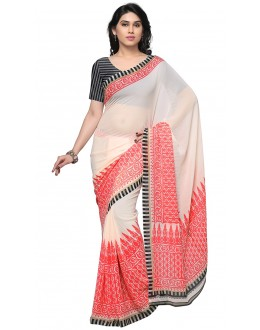 Wedding Wear White & Red Ranyal Printed Saree  - 81944