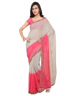 Ethnic Wear Pink & White  Ranyal Printed Saree  - 81948