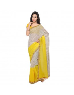 Traditional Wear Yellow & White  Ranyal Printed Saree  - 81951