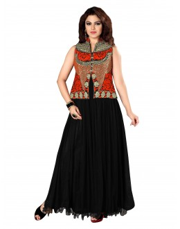 Beautiful Party Wear Embroidered Net Black Gown - EBSFGLF413018 ( EBSFG41 )