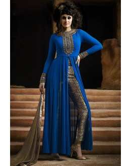 Party Wear Blue & Beige Georgette Straight Cut Salwar Suit - EBSFSK223001A ( EBSFSK22 )