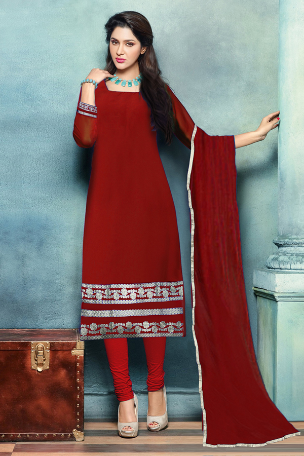 Party Wear Red Georgette Beautiful Salwar Suit - EBSFSK223007B ( EBSFSK22 )