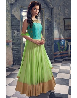 Wedding Wear Blue & Light Green Anarkali Suit  - EBSFSK223014 ( EBSFSK22 )