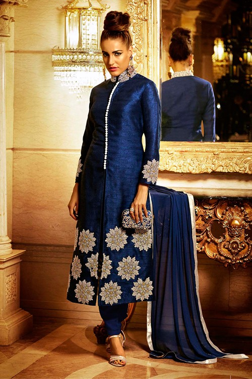 Wedding Wear Blue Bhagalpuri Silk Salwar Suit  - EBSFSK223018 ( EBSFSK22 )