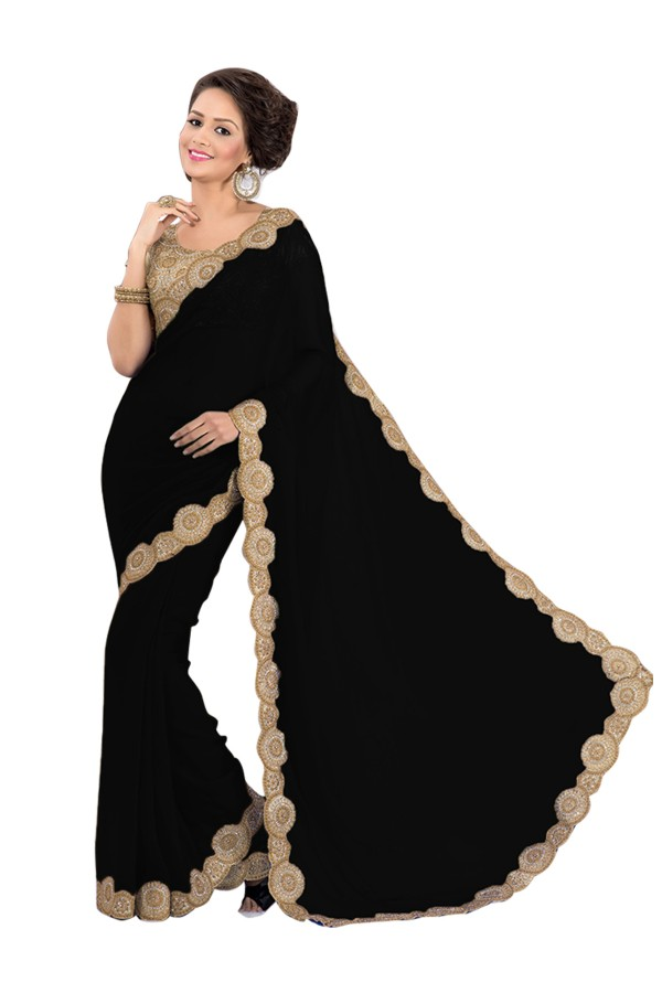 Party Wear Georgette Black Saree - EBSFS16595