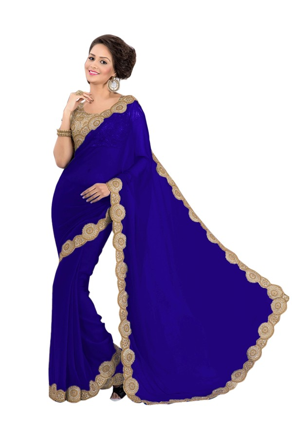 Party Wear Georgette Blue Saree - EBSFS16573