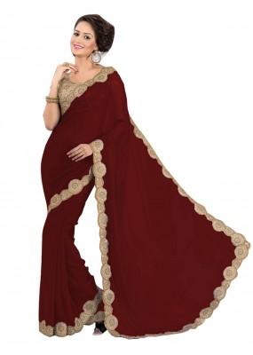 Party Wear Georgette Brown Saree - EBSFS16588