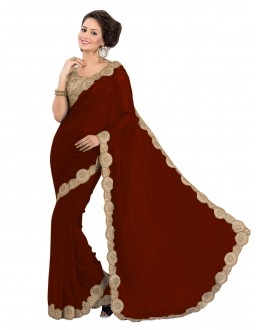 Party Wear Georgette Brown Saree - EBSFS16591