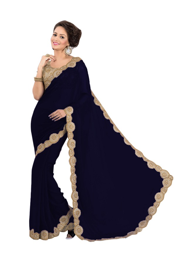 Party Wear Georgette Dark Blue Saree - EBSFS16592