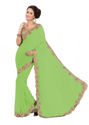 Party Wear Georgette Green Saree - EBSFS16504