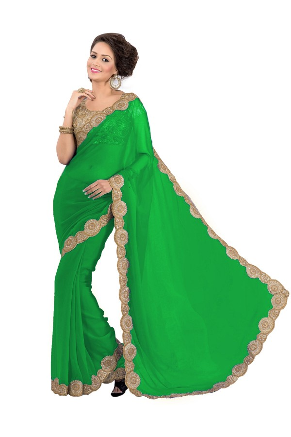Party Wear Georgette Green Saree - EBSFS16535