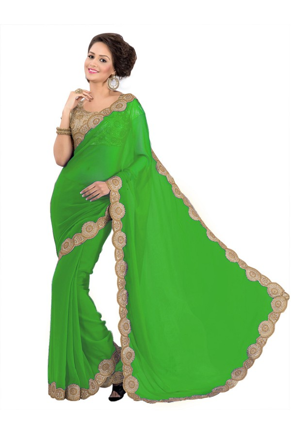 Party Wear Georgette Green Saree - EBSFS16540